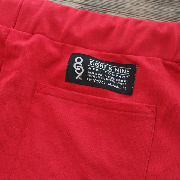 Mini Keys Cut Off Terry Shorts Red - 5