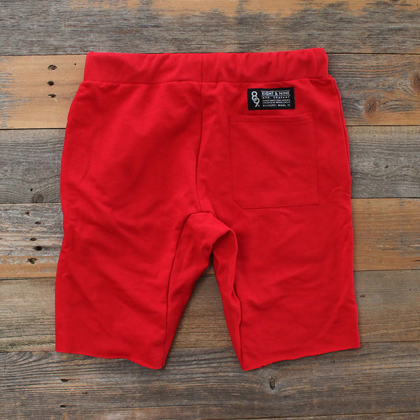 Mini Keys Cut Off Terry Shorts Red - 2