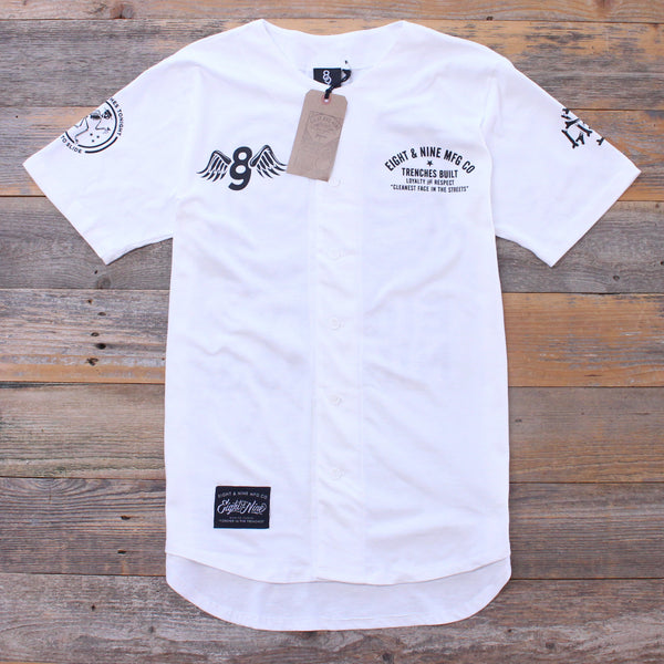 Kustom Life White Cotton Baseball Jersey - 1