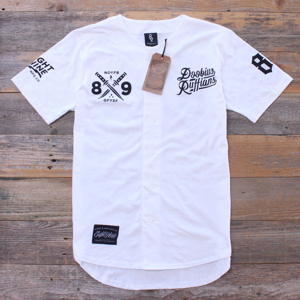 Doobious Ruffians White Cotton Baseball Jersey - 1