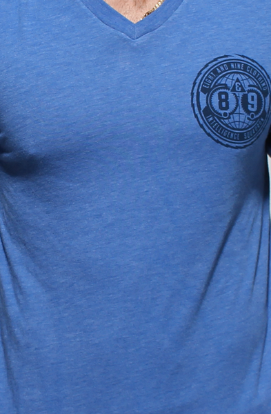 Intel Squad Vintage Blue V Neck Tee - 3