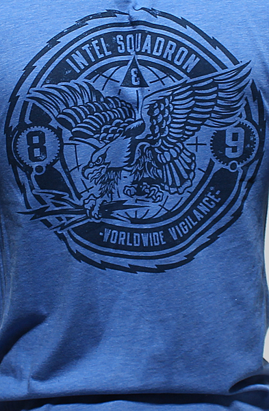 Intel Squad Vintage Blue V Neck Tee - 4