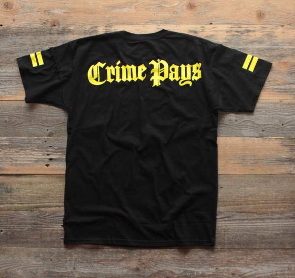 Crime Pays Jersey Tee Yellow - 2