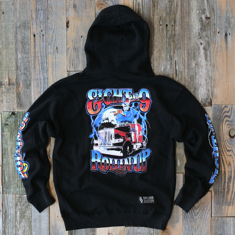 Rollin' Up Hooded Sweatshirt Black - 2