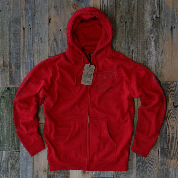 MFG Wax Stamp Zip Up Sweatshirt Red