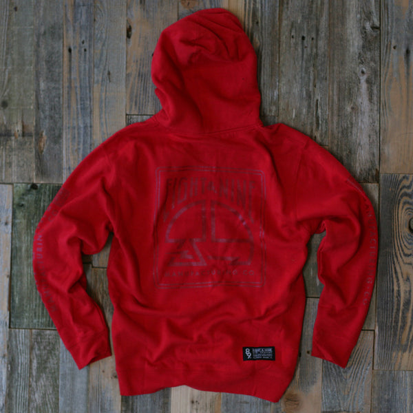 MFG Wax Stamp Zip Up Sweatshirt Red - 2