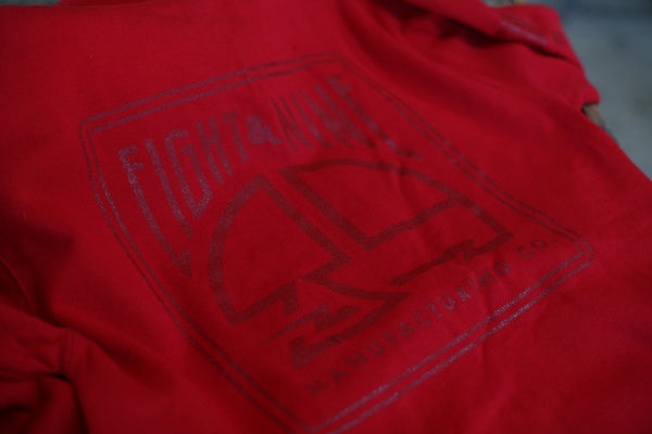 MFG Wax Stamp Zip Up Sweatshirt Red - 3