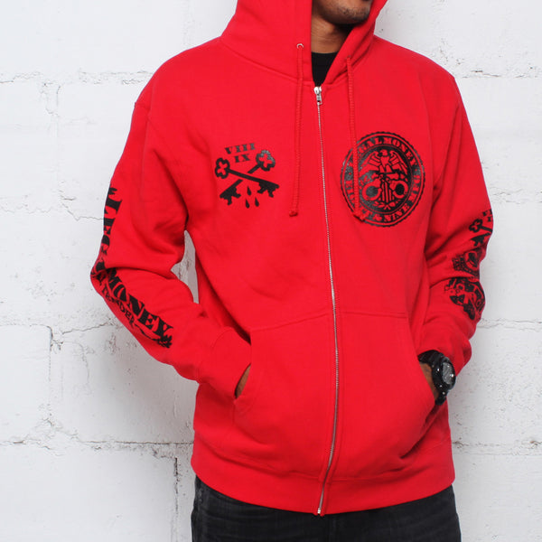 Legal Money Zip Up Hoody Red