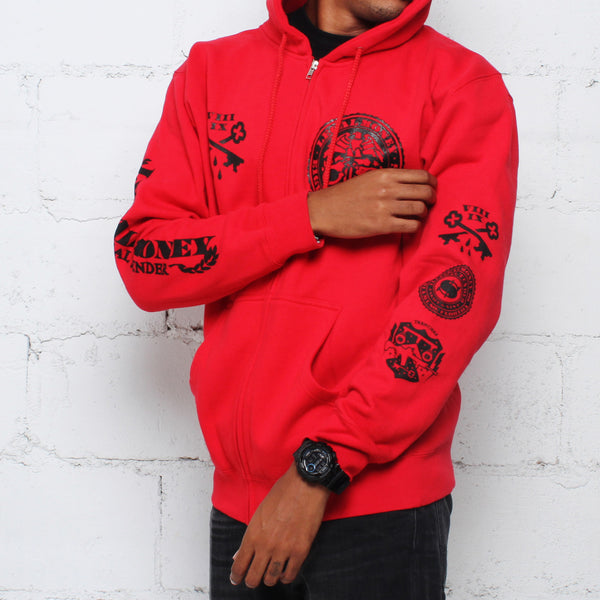 Legal Money Zip Up Hoody Red - 3