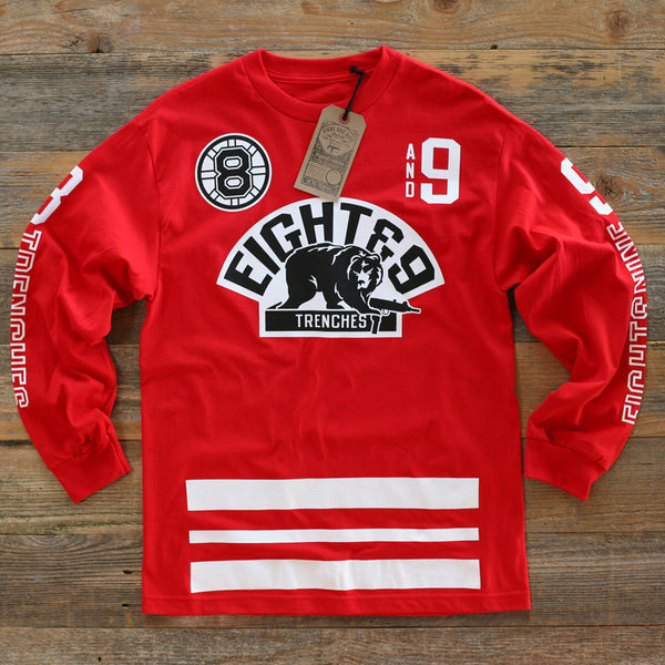 Trenches Hockey Jersey Tee L/S Red - 1