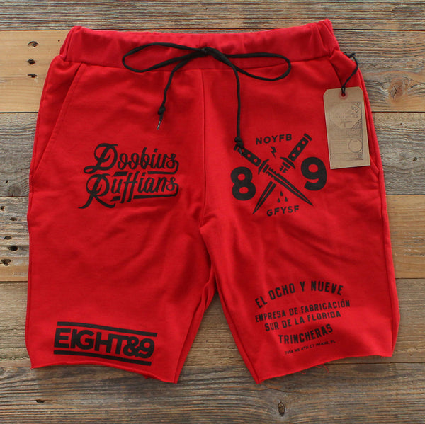Doobious Ruffians French Terry Shorts Red - 2