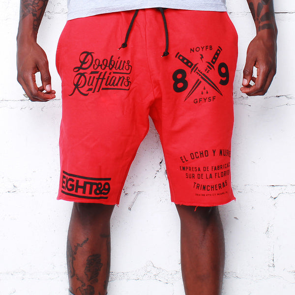 Doobious Ruffians French Terry Shorts Red