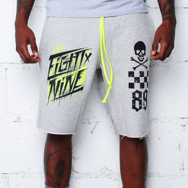 Race Team Grey French Terry Shorts Volt