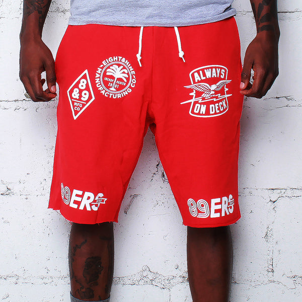 Kustom Life French Terry Shorts Red - 1