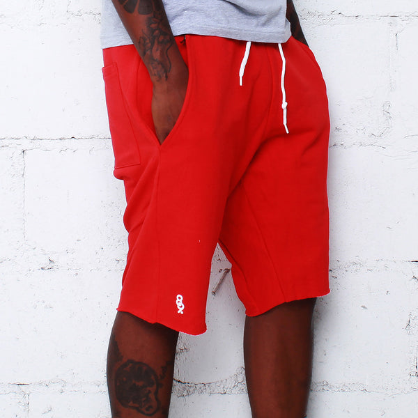 Mini Keys Cut Off Shorts Bright Red - 1