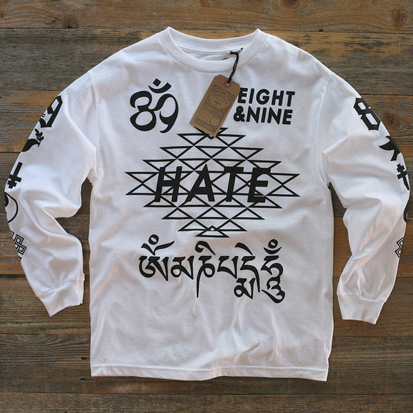 Hate Jersey L/S Tee White - 1