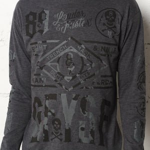 Louder Faster Destroyed Jersey L/S Coal