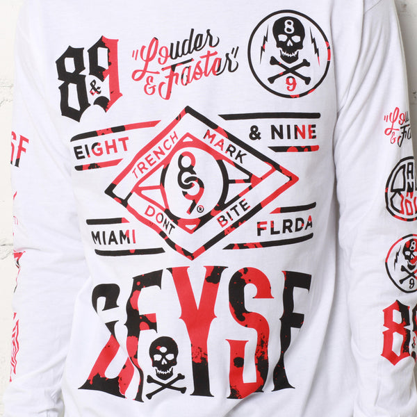Louder Faster Destroyed Jersey L/S White