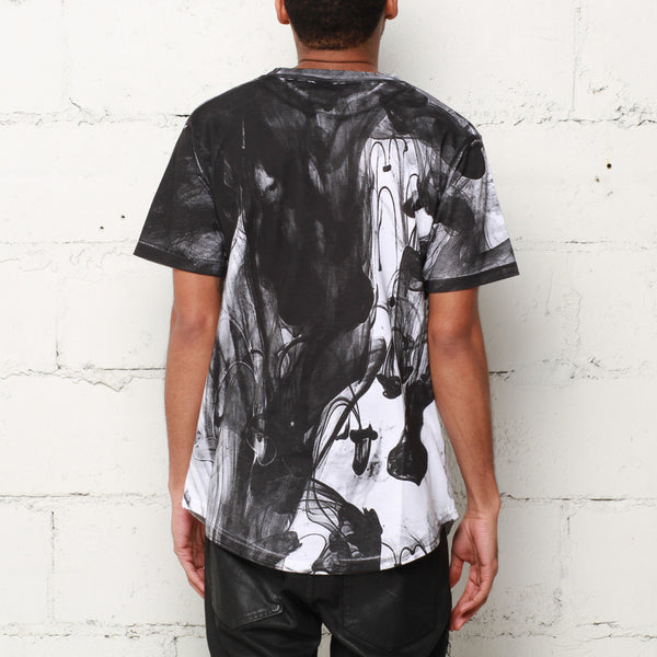 Ink Block Curved Hem T Shirt Black