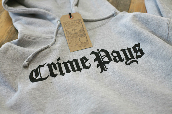 Crime Pays Hooded Sweatshirt Grey - 2