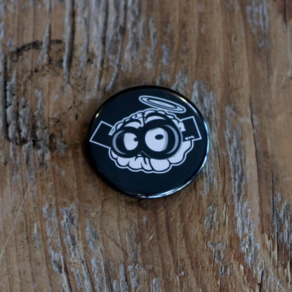 Black Brain Button Pin