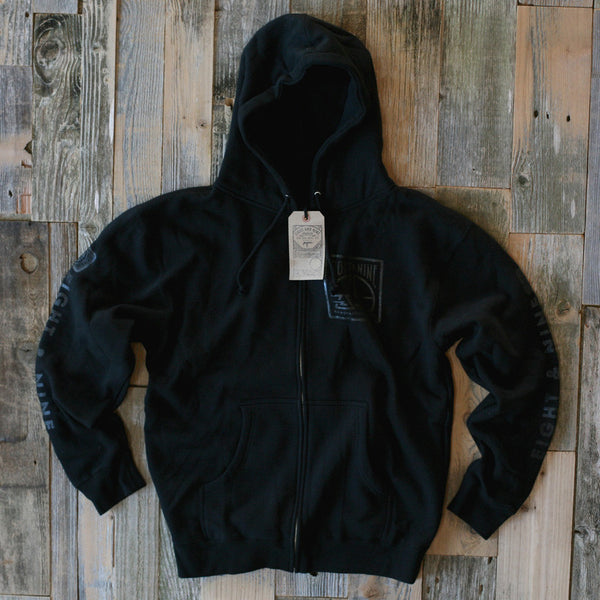 MFG Wax Stamp Zip Up Sweatshirt Black