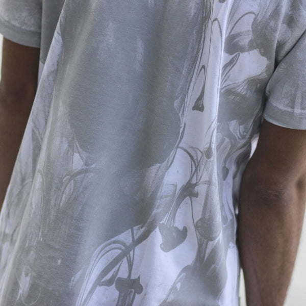 Ink Block Weathered T Shirt White Close up back Streetwear