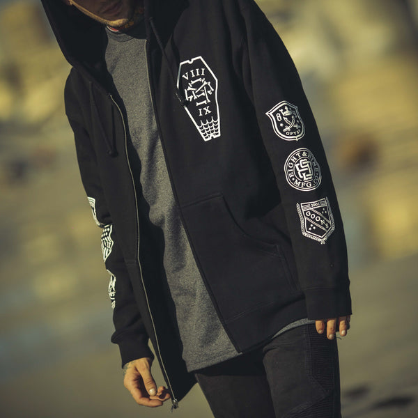 Infinite Ruffians Rugby Zip Up Hoodie Black