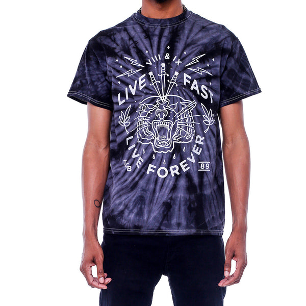 Live Fast Metallic Silver Black Tie Dye Shirt 8 9 Clothing Co