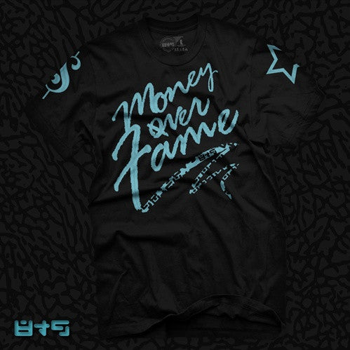 Foamposite Retro Blue Electric Money Over Fame T Shirt - 1