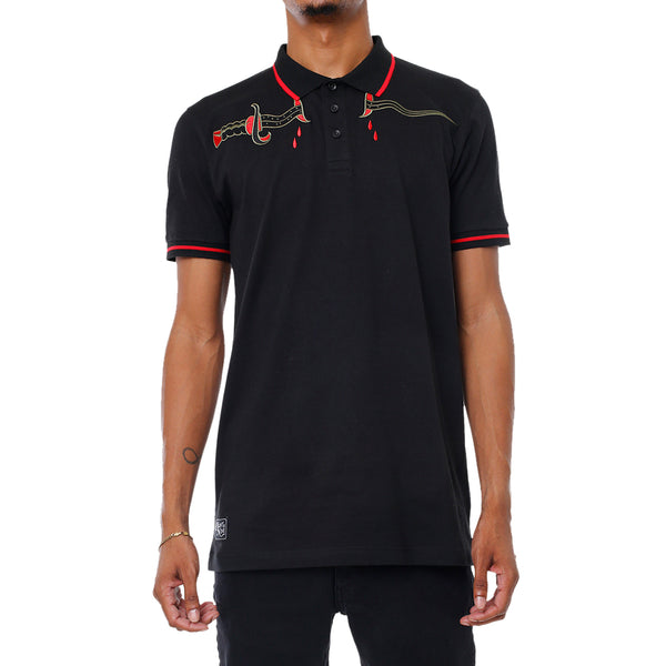 Memorial Embroidered Polo Shirt Black