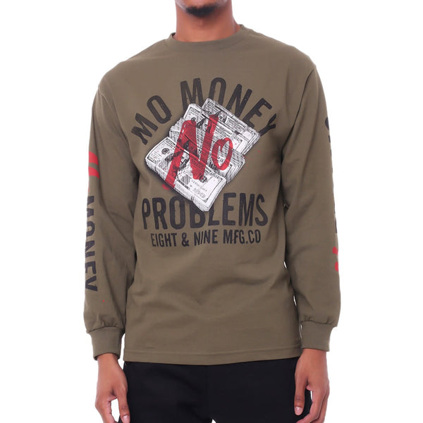 Mo Money No Problems LS T Shirt Olive