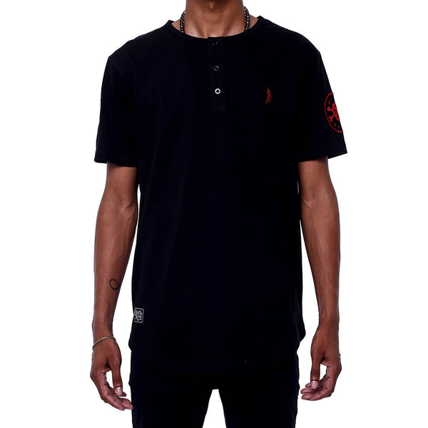 Narthex Round Bottom SS Henley Shirt Black