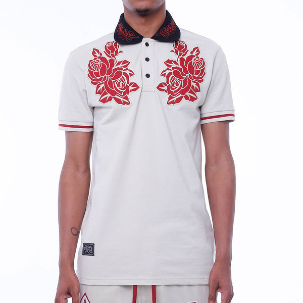 New Life Embroidered Polo Shirt Cream