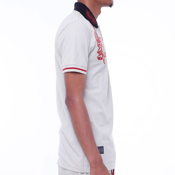 New Life Embroidered Polo Shirt Cream side