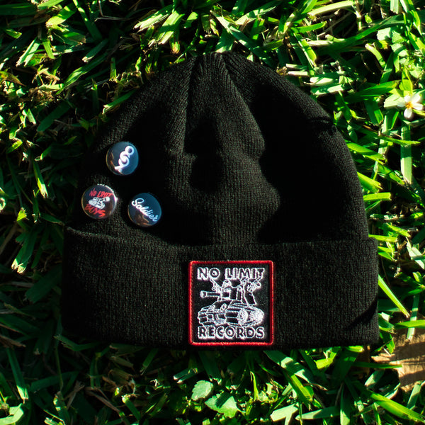 No Limit Tank Custom Hip Hop Patch Beanie with Pins Black