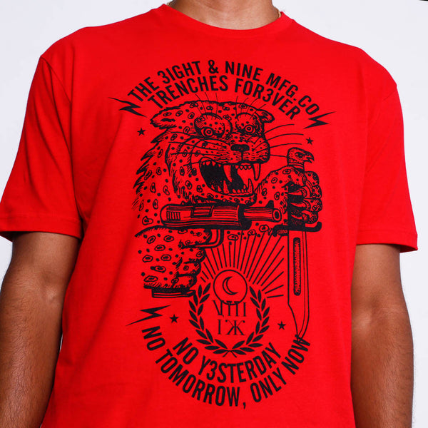 Only Now T Shirt Red front close