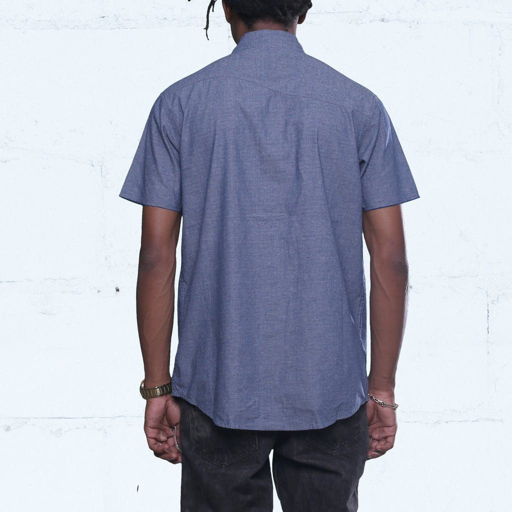 Pelican Bay Chambray Button Up Shirt Navy Back Streetwear