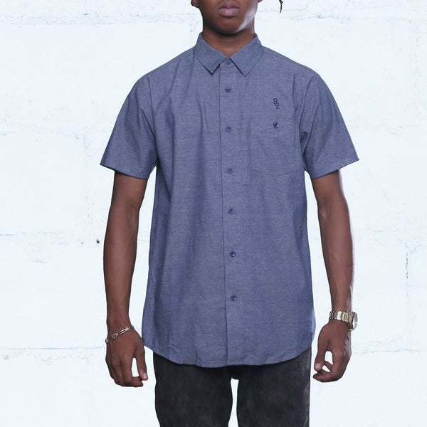 Pelican Bay Chambray Button Up Shirt Navy Closed Streetwear