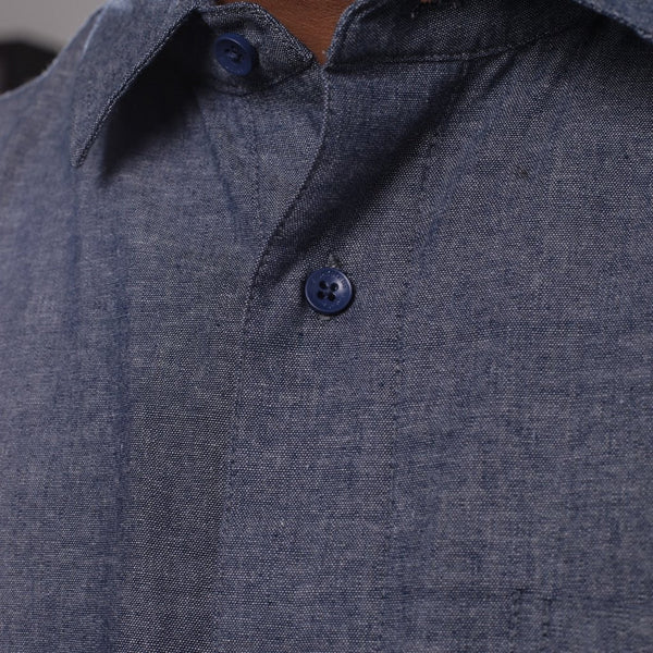 Pelican Bay Chambray Button Up Shirt Navy Collar  Streetwear