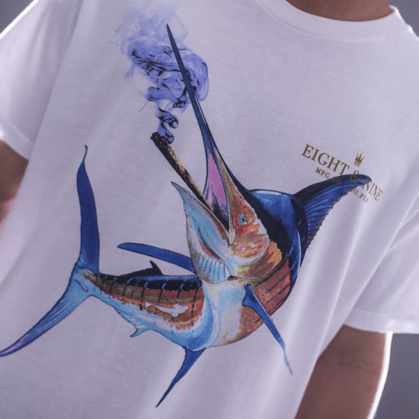 Smoke Fish Curved Hem T Shirt White