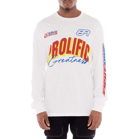 Prolific Long Sleeve Racing T Shirt White