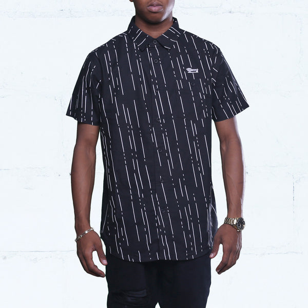 Rain Button Up Oxford Shirt Black