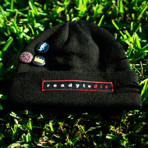 Ready To Die Custom Hip Hop Patch Beanie with Pins Black (2)