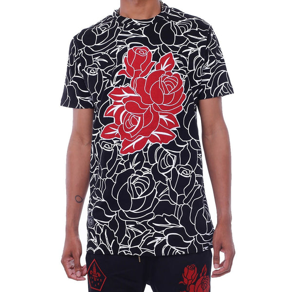 RoseAce Applique T Shirt Black