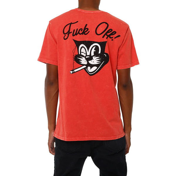Social Cat Vintage Pocket T Shirt Red
