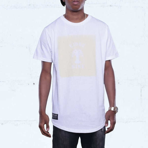 Spiny Curved Hem T Shirt White