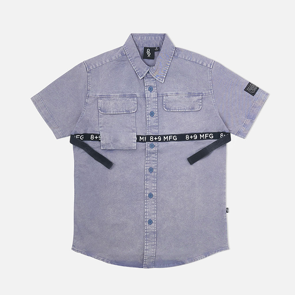 Strapped Up Button Up Shirt Vintage Blue