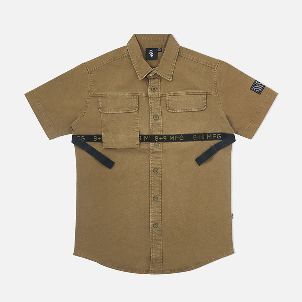 Strapped Up Button Up Shirt Vintage Olive