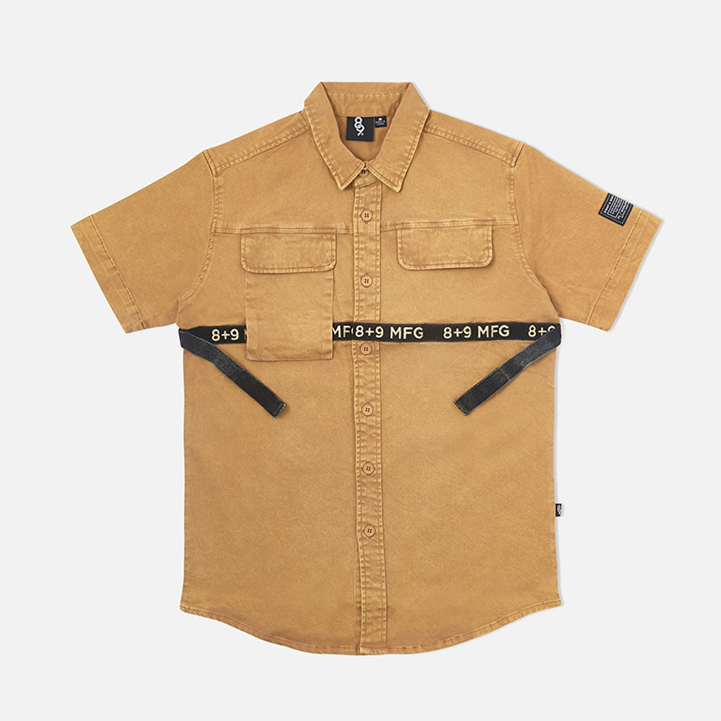 Strapped Up Button Up Shirt Vintage Tan